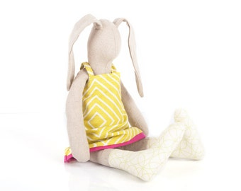 Girl Room Decor , rabbbit cloth doll , bunny plushie , eco ragdoll , linen rabbit , easter bunny , stuffed doll , popular stuffed toy