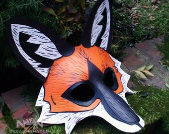 The Fox - Handmade 8oz. Leather Mask - in orange black and white