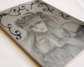 OOAK A4 Moleskin Blank Notebook - Custom Cover - Ophelia