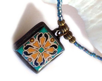 Tile Design Spanish, Mexican, Catalina Island Tile, Inspired, Aqua Blue Glass and Black Pewter Beaded Necklace