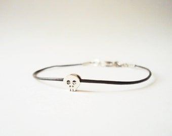 Skull Leather Bracelet, Silver Charm Bracelet, Friendship Bracelet, Tiny Skull, Skull Jewelry, Leather Jewelry, Rock Jewelry, Minimalist