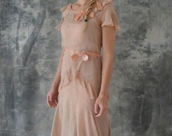 1920s Shell Pink Ribbon and Flutter Flapper Dress