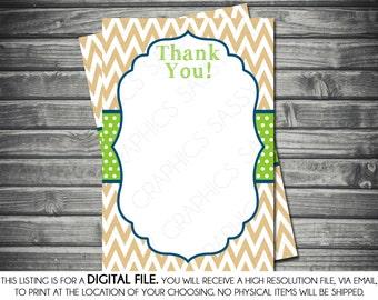 Boy Baby Shower Thank You Card - Chevron, Polka Dots, Tan, Green, Navy Blue, Printable, Digital