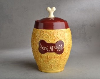 Dog Treat Jar Made To Order Bone Appetit Curls Treat Jar by Symmetrical Pottery
