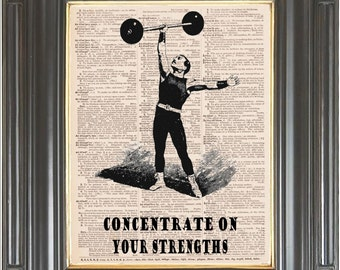 BOGO Sale Circus strongman Elephant silhouette Dictionary page art print wall decor Printed on old dictionary or music book page. Item No369