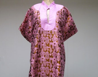 Vintage 1950s Ethnic Top / 50s Woven Silk and Linen Exotica Tunic / Small - Medium