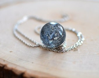 moss necklace botanical necklace - blue moss - lichen necklace, terrarium necklace nature necklace, gift under 40