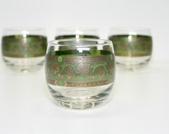 1960's Set of 4  Roly Poly glasses, Golden Grapes-Green by Cera Glass, Mid Century Barware,  22 Karat Gold