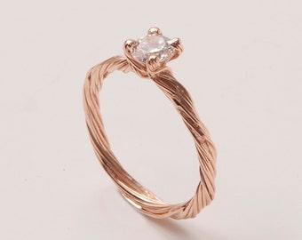 Twig Engagement Ring - 14K Rose Gold and Diamond engagement ring, engagement ring, leaf ring, filigree, antique, art nouveau, vintage, 3