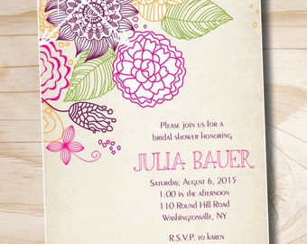 VINTAGE FLORAL Sketch Bridal Shower/ Baby Shower Invitation - Printable digital file or printed invitations