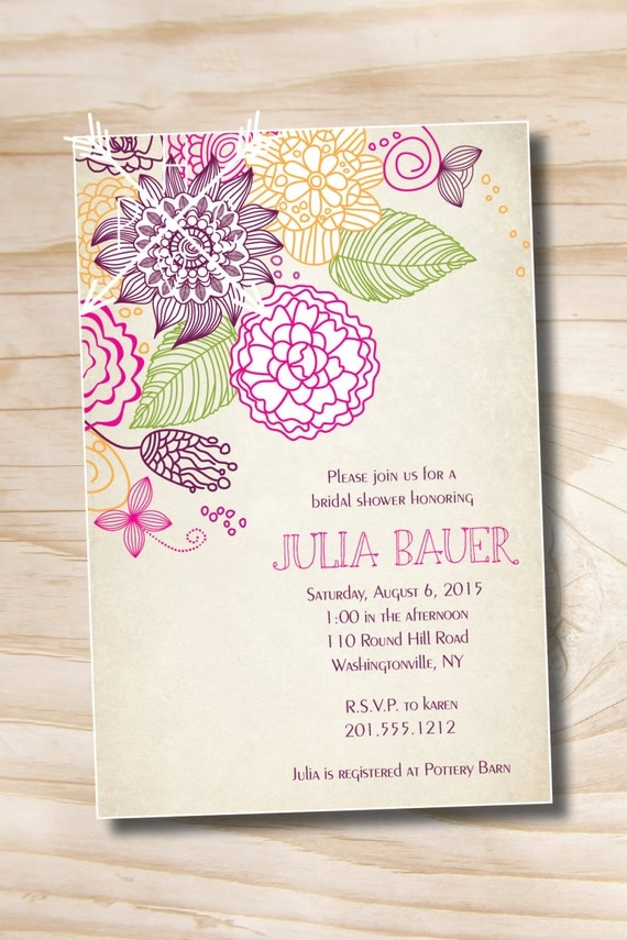 Vintage floral sketch bridal shower baby shower invitation il570xn filmwisefo Image collections