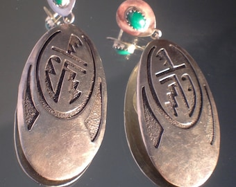 Huge Dangle Earrings Vintage Tribal Art Southwest Earrings Sterling Silver Jewelry Vintage Jewelry