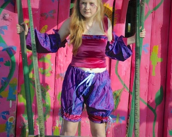 SALE Circus performer costume, Pink velvet top & purple silk bloomers clown costume, carnival costume with arm warmers / sleeves Size small