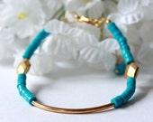 Turquoise Gold Bracelet, Beaded Bracelet, Beadwork Bracelet, Tennis Bracelet, Gemstone Bracelet, December Birthday, Bridal Jewelry, Holiday