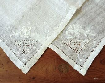 Vintage pair of embroidered white work handkerchiefs, wedding, bridal, white on white floral Madeira style, pulled thread needlework, collar