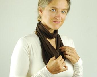 Brown Circle Scarf - Skinny Infinity Scarf - Organic Jersey - Turban Headwrap -  Organic Clothing