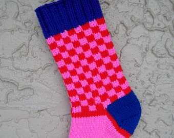 Christmas stocking hand knit bright checks FREE U.S. SHIPPING
