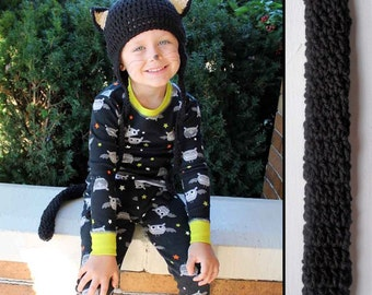 Kids Kitty Cat Halloween Costume Crochet Earflap Hat and Tail Set - Childrens Accessories by Julian Bean