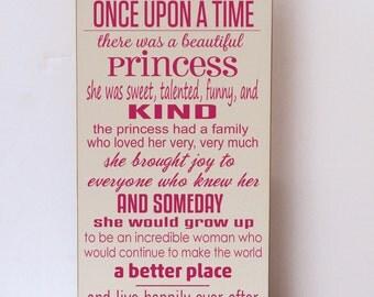 Once Upon A Time Wooden Sign, Princess Decor, Princess Wall Art, Baby Girl Nursery, Nursery Decor, Art for Nursery, Wood Sign