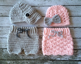 Twin Photography Prop Set in Pale Pink and Gray- Crochet Baby Pants/Skirt in 2 sizes- MADE TO ORDER