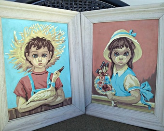 Vintage Big Eye Paintings - Pair of PBN Children Wall Hangings - Sad Boy and Girl Paint by Numbers - Haunted Children Art