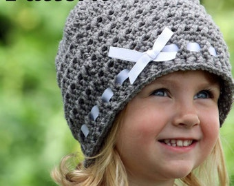 PATTERN: Crochet Ribbon Hat, Crochet Winter Hat Pattern, Girls Crochet Beanie Pattern, Crochet Baby Hat Pattern, Ribbon and Bow Hat Pattern