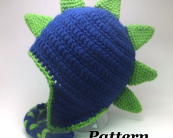 CROCHET PATTERN: Crochet Earflap Dinosaur or Dragon Hat Pattern, Crochet Boy Dinosaur, Girls Dinosaur Hat, Crochet Dragon, Crochet Dino