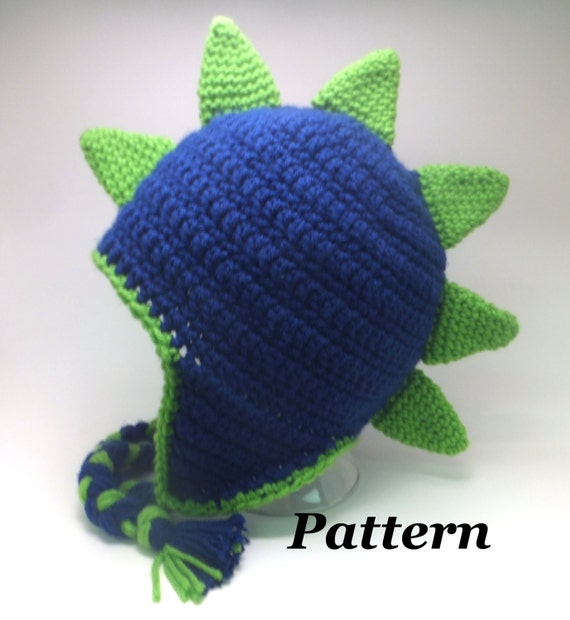 Knitting Pattern Dinosaur Hat : CROCHET PATTERN: Crochet Earflap Dinosaur or Dragon Hat