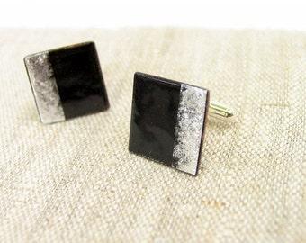 Wedding cuff links black silver - enamel square cufflinks - artisan wedding by Alery
