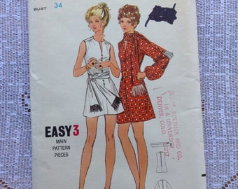 Vintage Butterick 5849 Gathered Shoulder Mini Dress Sewing Pattern 34 Inch Bust
