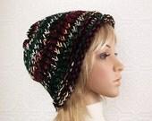 Hand knit hat - black multicolor - Winter Fashion accessories Sandy Coastal Designs - ready to ship