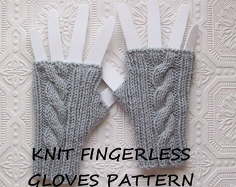 Instant download knit fingerless gloves pattern - cabled fingerless gloves pattern - DIY knitting pattern - Sandy Coastal Designs
