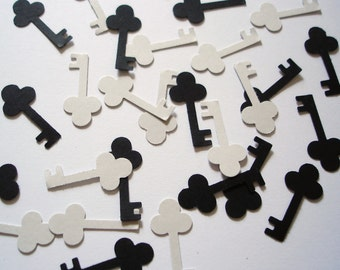100 Grey and Black Key punch die cut confetti scrapbook embellishments - No1041