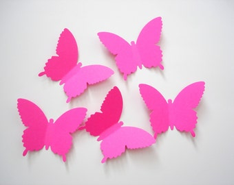25 Extra Large Bright Hot Pink Country Butterfly die cut punch scrapbook embellishments - No318