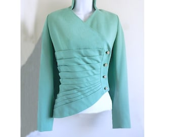 1950's Lilli Ann of San Francisco Turquoise Jacket with Rhinestone buttons, Bombshell, designer