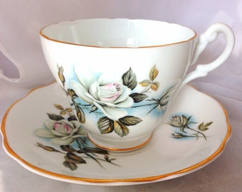 Consort English Fine Bone China Vintage Teacup & Saucer Set - white wild rose pattern - flowers - floral - blue - pink