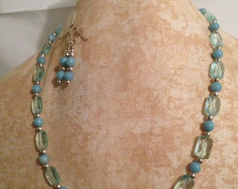Amazonite, Blue Quartz, Sterling Silver necklace and earring set