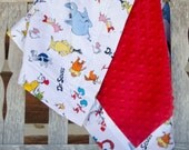 Dr. Seuss Minky Baby Blanket Designer Thing 1 & 2 Red Blue Green - Name Available - Cat in the Hat