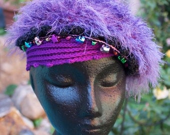 Fuzzy Purple Funky Crochet Hat with Metallic Beads... Cute for Little Ones...