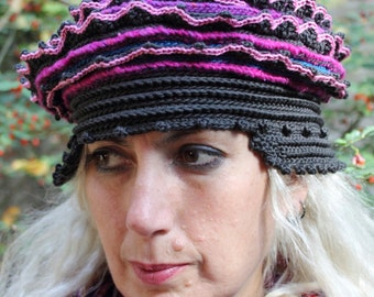 Pinks & Deep Gray Colorful Crochet Hat...