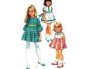 """Girl's Dress Sewing Pattern Sleeveless Short Sleeved or Puff Three Quarter Sleeves 70s Childens Sewing Pattern Size 4 Chest 23"""" (59 cm)"""
