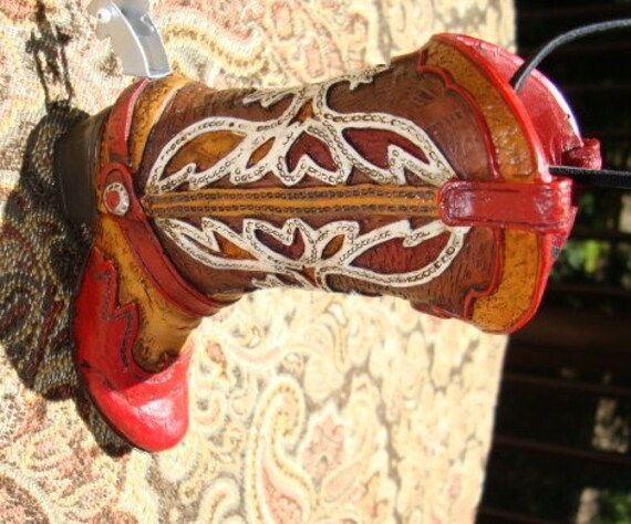 Vintage Christmas Tree Ornament Cowboy Boot Western by ...