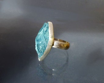 Raw Aquamarine Cocktail Ring  - Natural Crystal set in Recycled Silver - Large Aquamarine Crystal