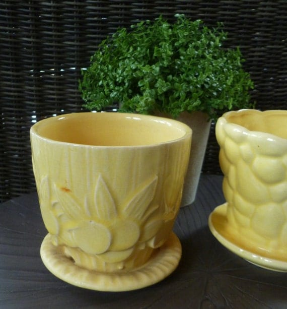 2 McCoy Flower Pots. Yellow Pottery Planters By