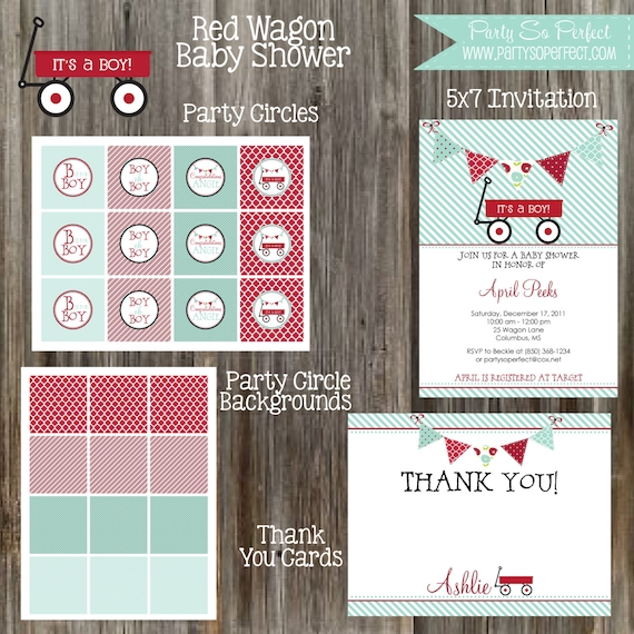 RED WAGON Baby Boy Shower Printable Party Package