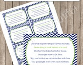 "Insert Card ""Book instead of a Card"" - Lime and Navy Chevron Baby Shower Invitation Insert Card - Nautical2 lne1 INSTANT DOWNLOAD"