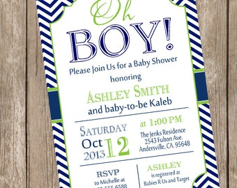 Oh Boy Baby Shower Invitation Navy and Lime Green Chevron printable invitation  OBLN