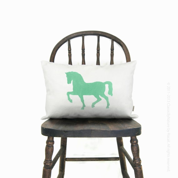 Horse decorative cushion cover - Personalized horse pillow case - 12x18 or 16x16 inches - Your custom choice of print color, fabric and size