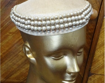 50's Vintage Pill Box Hat Beaded