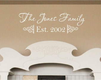 Custom Family Last Name Vinyl Decal - Family Vinyl Wall Art Decal Set, Home Vinyl Decor, Family Last Name Vinyl Lettering, Custom, 28x9